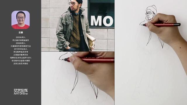 人物速写作品--男青年的站姿 - 武汉北艺画室