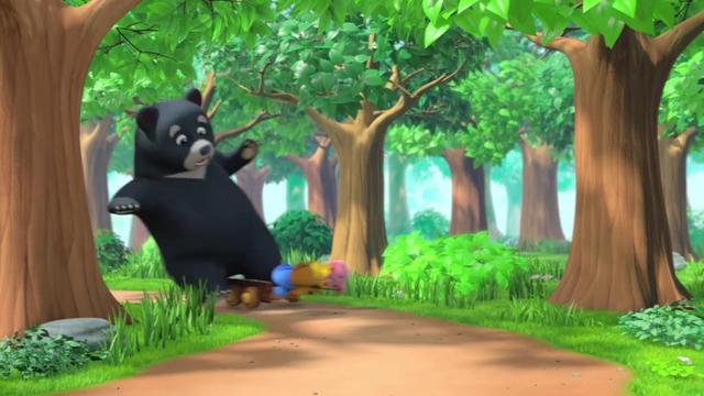 黑熊叔叔那么大,非要坐萌鸡们的的士,一只脚就把的士塞满了