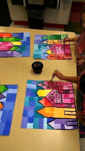 楼房简笔画图片带颜色