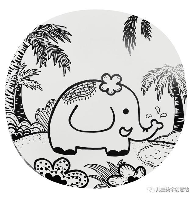 儿童简笔画:阳光沙滩画画