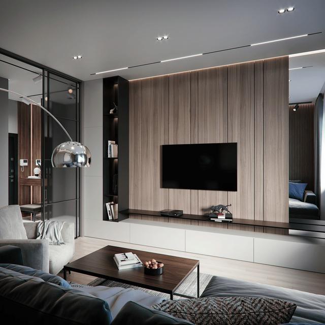 小户型现代简约风装修,电视柜背景墙设计很漂亮,阳台改造休闲区