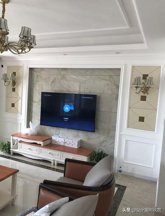 纯石膏板电视背景墙