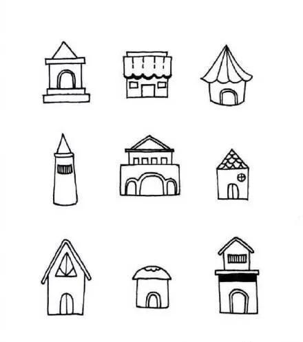 漂亮的小房子简笔画绘画图片步骤教程图解◆肉丁儿童网