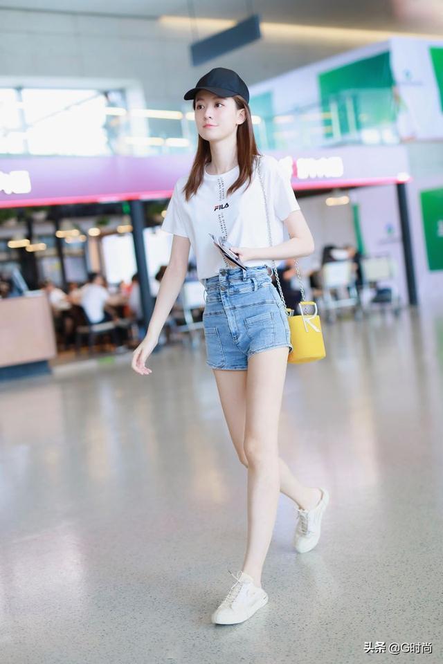 女士高腰牛仔短裤