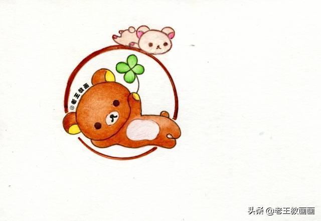 零基础也可以画的可爱小熊简笔画,画在手账本或手抄报上吧!