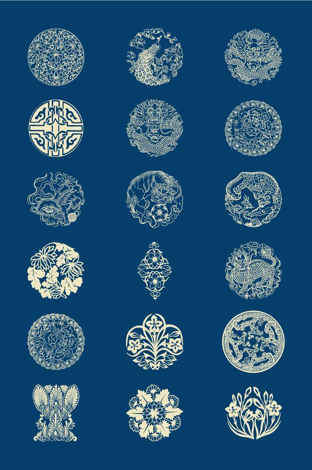 干货!值得收藏中国风图案 花纹传统古典图案 边框底纹 矢量图案