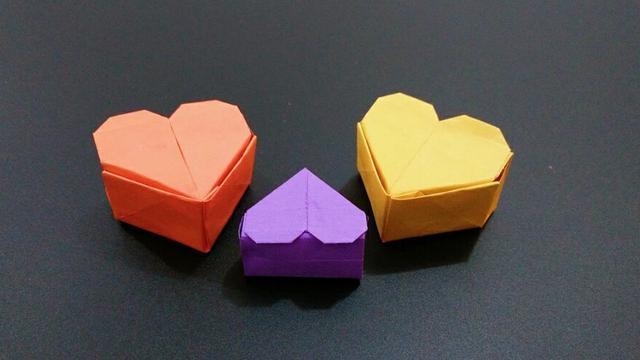 折纸爱心盒子,普通盒子加一步就好了,很简单#手工大师赛#