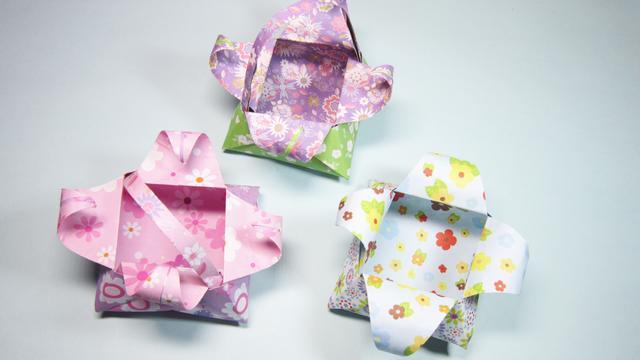 儿童手工折纸手提篮子,简单小花篮的折法视频,DIY手工制作