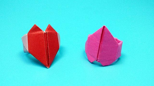 创意DIY手工折纸教程 简单的彩纸戒指折叠步骤图╭★肉丁网