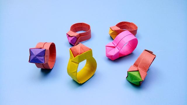 用钱折纸宝石戒指,2分钟学会戒指的手工折法教程
