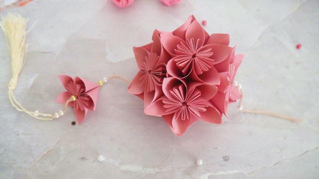 玫瑰花球的折法步骤图