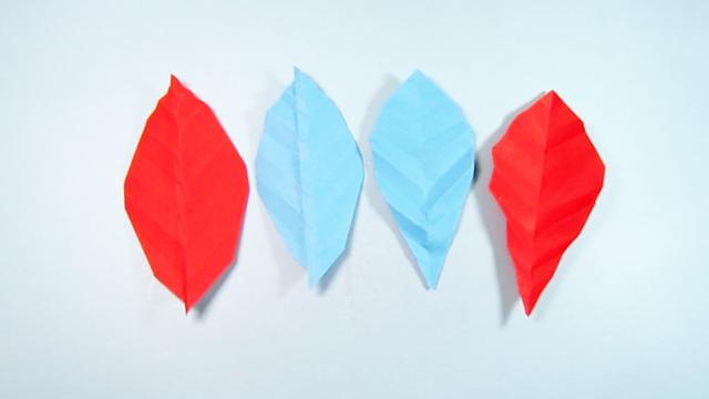 2种简单的叶子折纸,看一遍就能学会树叶的折法