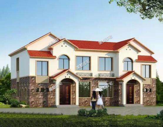 平屋顶设计的双拼自建房,宅基地不管大小都能建