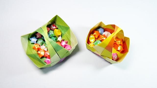手把手教你折纸篮子,简单一学就会的漂亮菜篮子折法