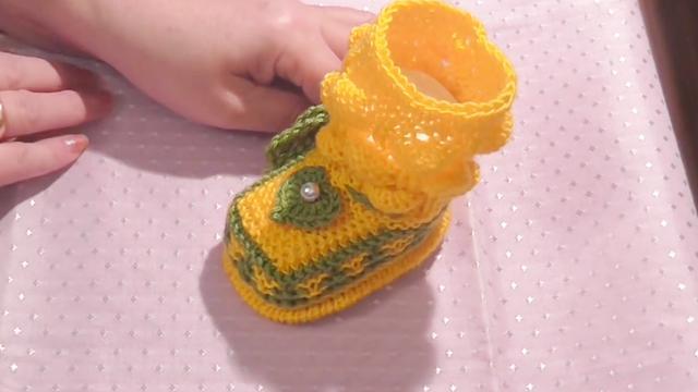 婴儿针织毛线鞋图片