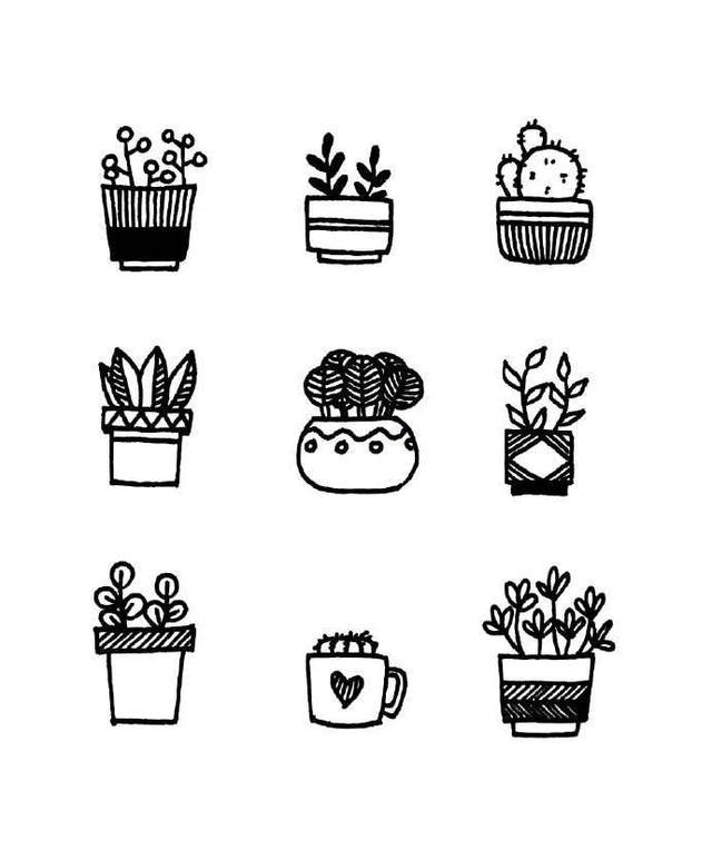 「干货大全!」500种小清新花草树植物手绘简笔画素材,做手账一定少不了它们!