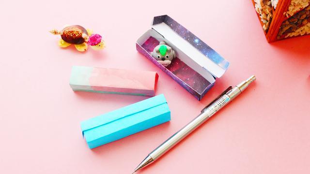 简单的长方形折纸收纳盒,1张纸完成,折个大的还能当作文具盒!