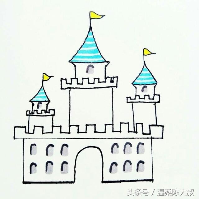 儿童彩色铅笔画城堡,关于城堡的儿童画欣赏(3)_儿童画教程_学...
