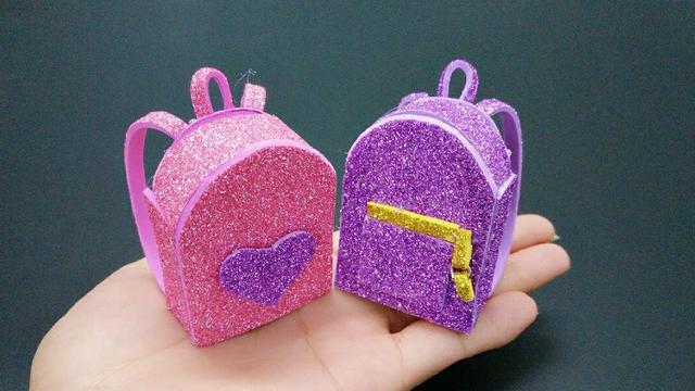 萌萌的折纸迷你小书包,成品超可爱,步骤也很简单!