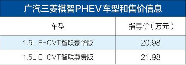 广汽三菱新款祺智PHEV正式上市 售价20.98-21.98万元
