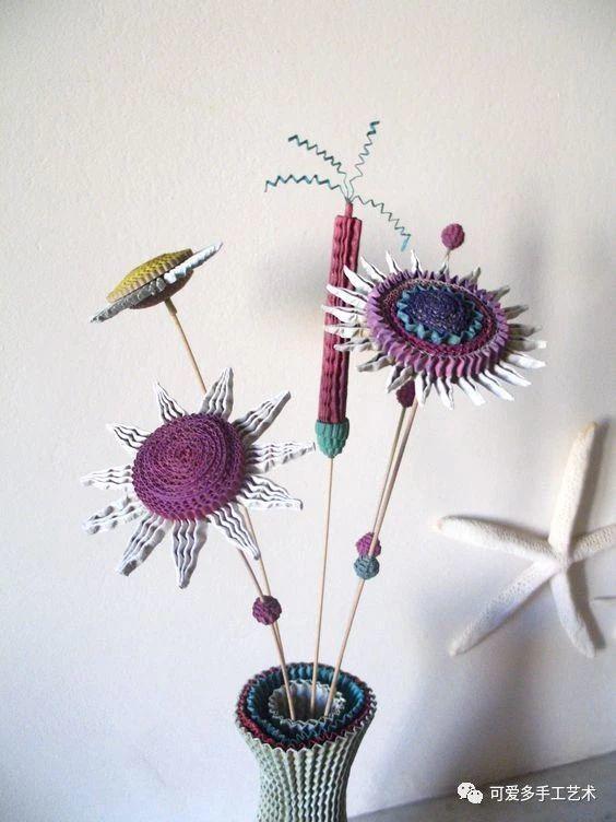 美工区材料:瓦楞纸变形(3)——花