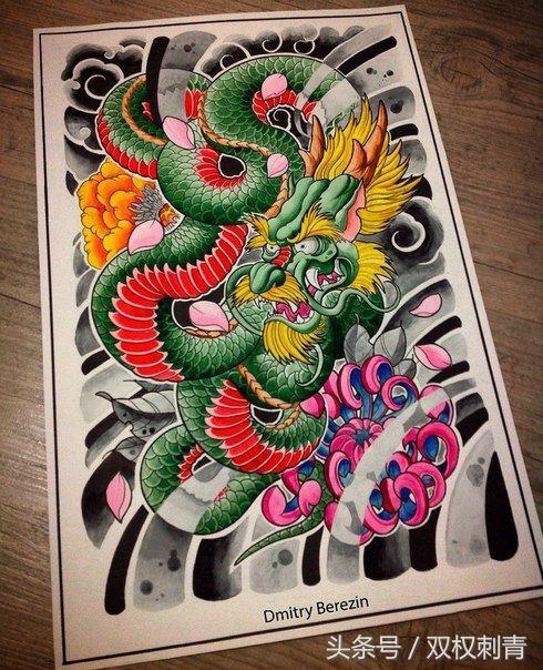 龙纹身手稿图案大全