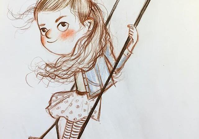 手绘二次元少女彩铅画