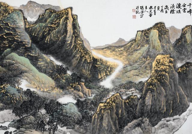 有画说|一幅极漂亮的金碧山水画《水迴千嶂合云渡绿溪阴》重彩
