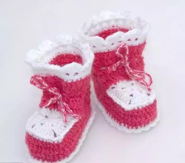 潮范儿十足的高帮宝宝鞋编织图解教程,宝妈们都喜欢的一款哦!