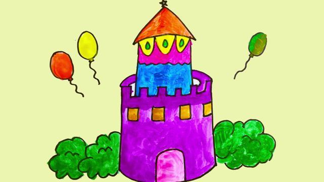 古建筑怎么画 漂亮城堡的画法简笔画图片_巧巧简笔画