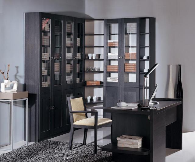 书柜书桌一体图片