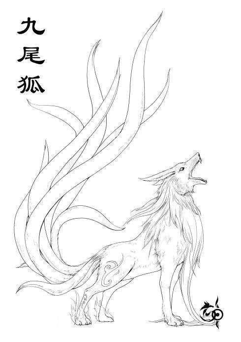 九尾狐貍紋身手稿圖片