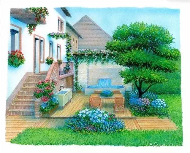 80款老外手绘花园院子,有你喜欢的吗?