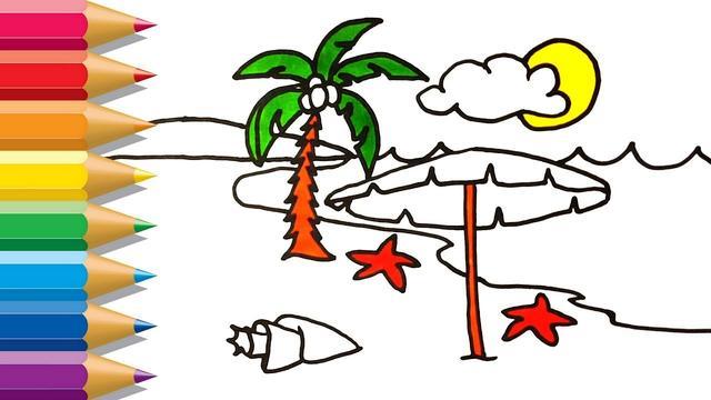 沙滩风景蜡笔画-快乐沙滩 - 5068儿童网