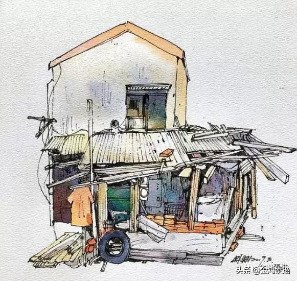 建筑画手绘简笔画