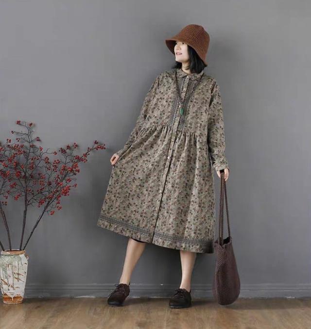 中老年连衣裙新款棉麻