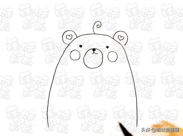 零基础学画可爱的小熊简笔画步骤图解教程 - 简笔画