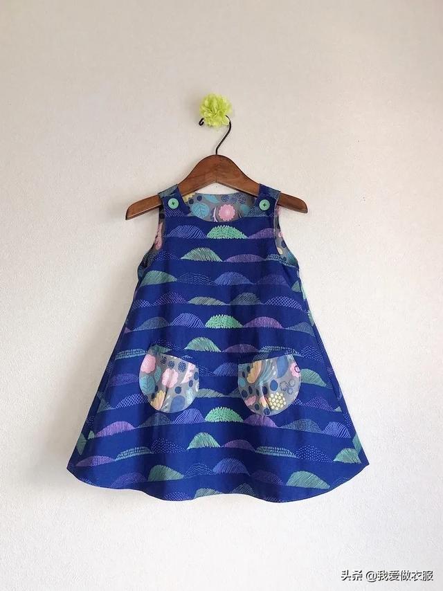 女童A字连衣裙裁剪图,制作简单又实用