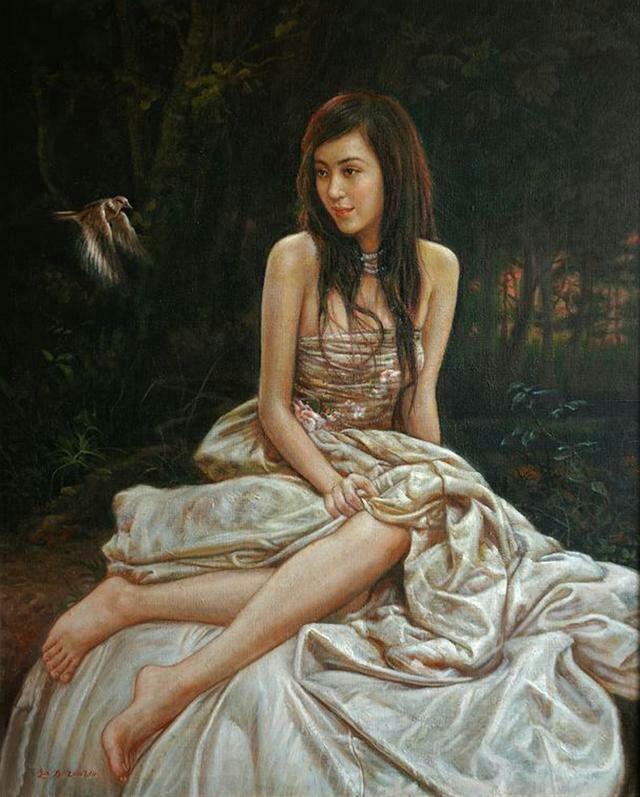 艺术家油画中的少女如女神般唯美,令人震撼