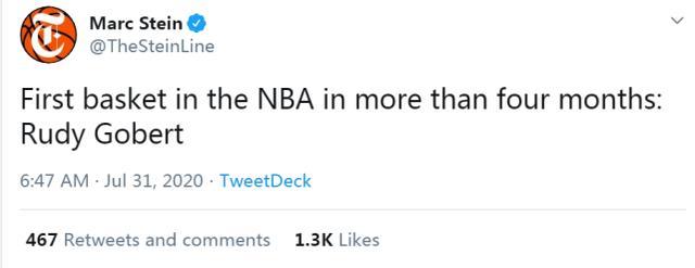 【影片】時隔141天NBA回歸!Gobert投中復賽首個進球,第一時間沖上熱搜榜!-籃球圈