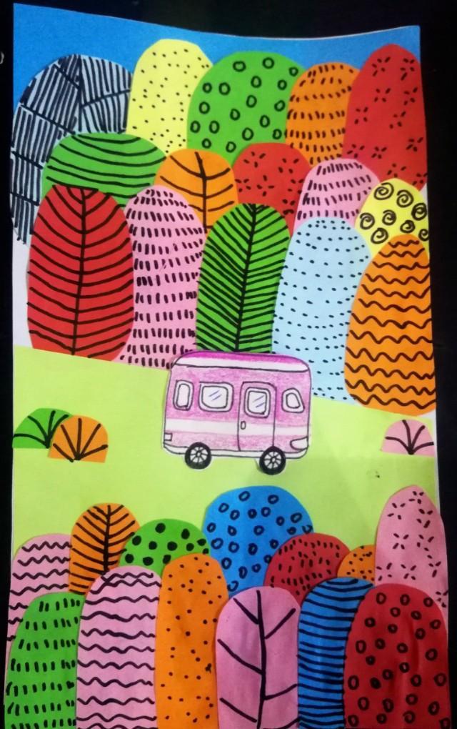 儿童画春天的景色图片_绿色的世界 - 5068儿童网