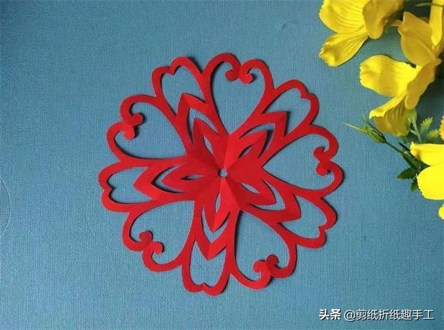 五角团花剪纸图案