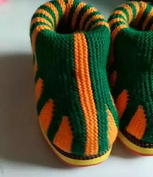 简单实用的大人小孩毛线拖鞋针织方法图解,妈妈们必学