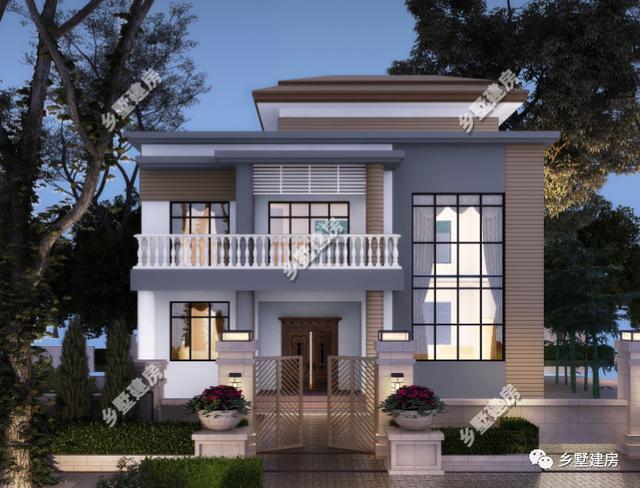 两层半现代风别墅,农村自建别墅中的潮流,建一栋享受美好人生