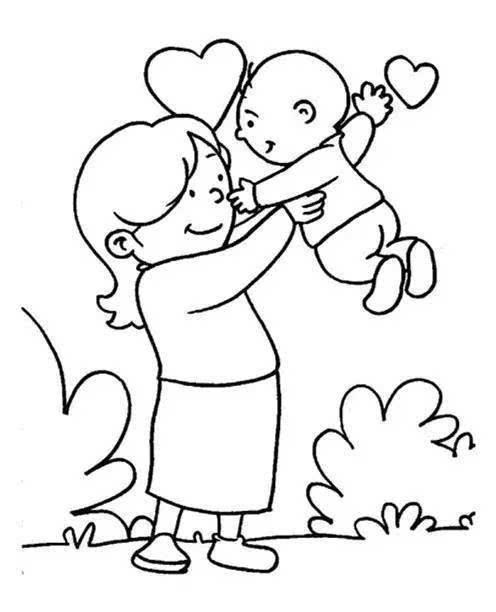 母亲节儿童画素材