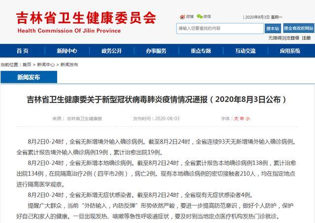 吉林省卫生健康委关于新型冠状病毒肺炎疫情情况通报(2020年8月3日公布)