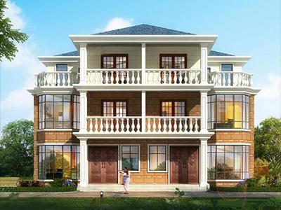 二层半农村双拼别墅住宅施工图外观图15.5x16米