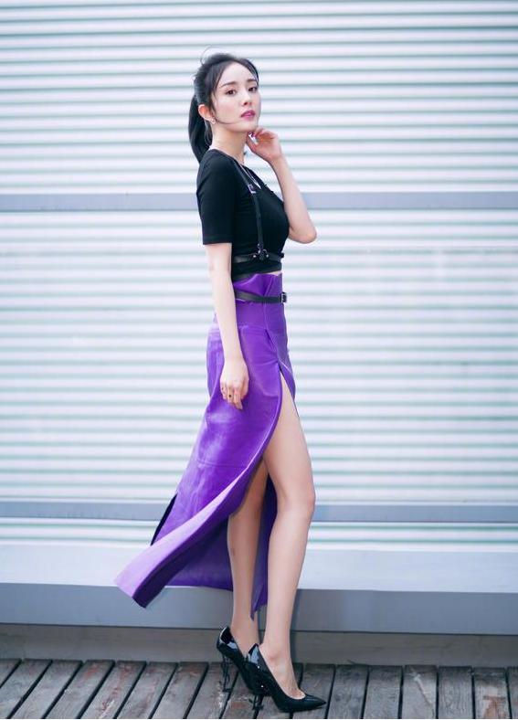 杨幂明日之子紫色裙子
