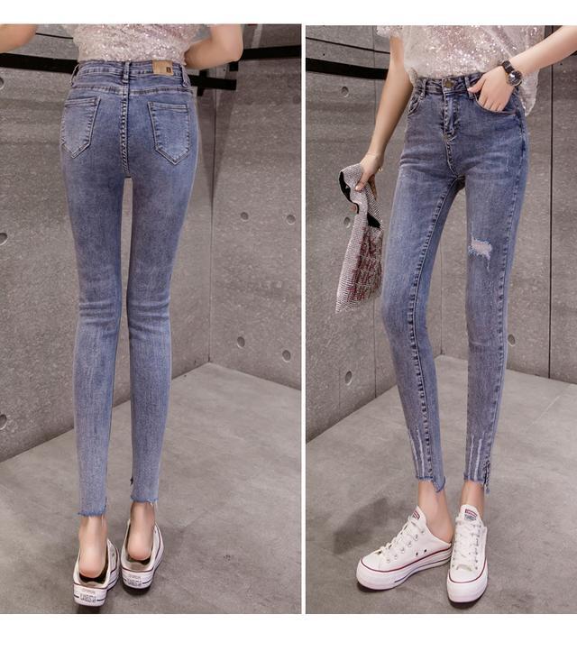 牛仔裤女冬季新款棉裤黑色修身小脚铅笔裤