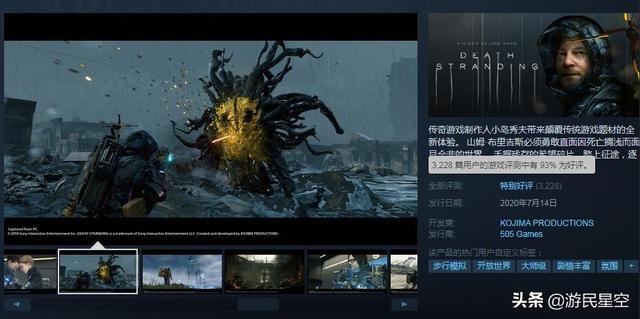 《死亡搁浅》Steam在线玩家峰值3万 入围当前热门